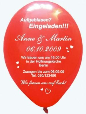 """Bedruckte Rundballons """"Einladung Hochzeit"""" Luftballons und ..."""