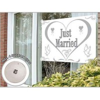 Fenster Fahne Just Married 1,50 x 1 m