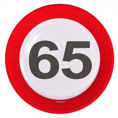 Teller Verkehrsschild 65 Geburtstag 8 Stk Partydeko